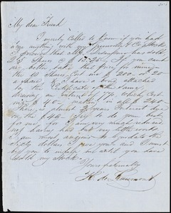 H. DeLéaumont, [Charleston, S.C.?], autograph letter signed to Ziba B. Oakes, [February 1855?]