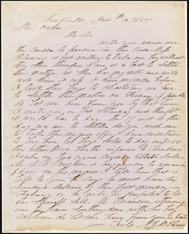 A. J. McElveen, Sumterville, S.C., autograph letter signed to Ziba B. Oakes, 16 January 1855