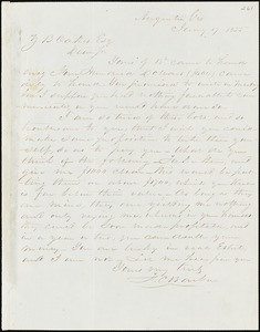 F. C. Barber, Augusta, Ga., autograph letter signed to Ziba B. Oakes, 17 January 1855