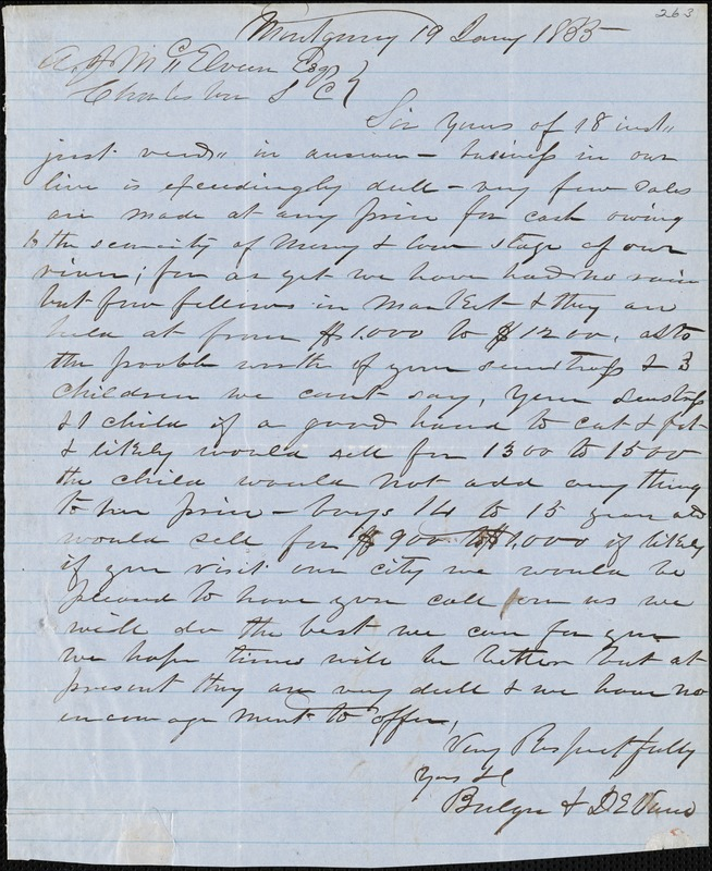 Bulgre & DeVane, Montgomery, Ala., manuscript letter signed to A.J. McElveen, 19 January 1855