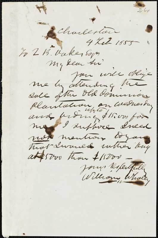 William Whaley, Charleston, S.C., autograph letter signed to Ziba B. Oakes, 4 February 1855