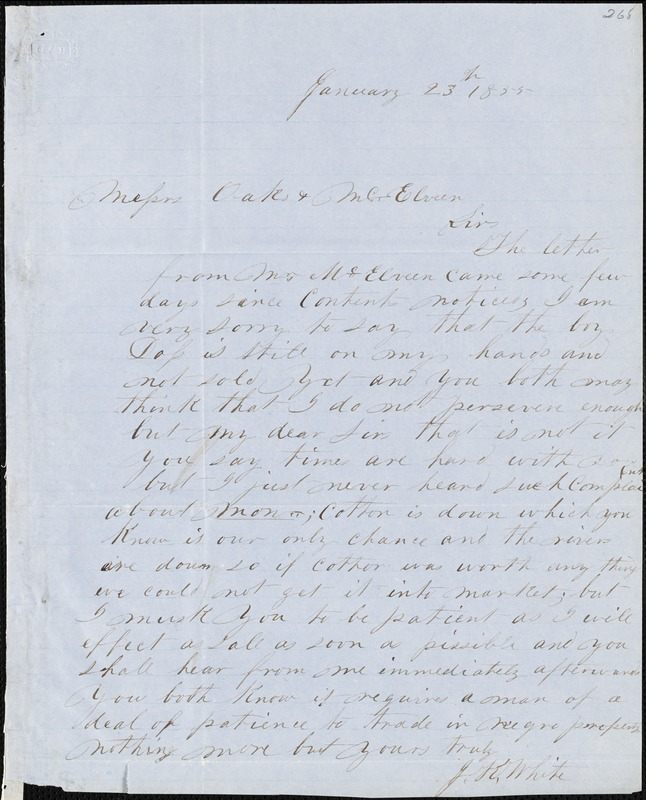 J.K. White, autograph letter signed to Ziba B. Oakes and A.J. McElveen, [January 1855?]
