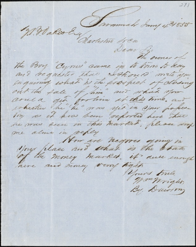 William Wright, Savannah, Ga., manuscript letter signed to Ziba B. Oakes, 4 January 1855