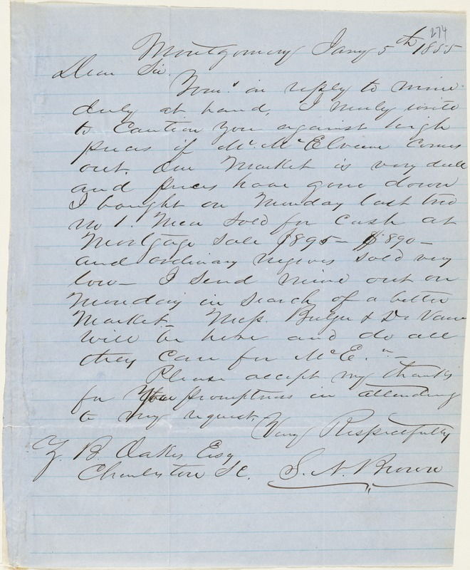 S. N. Brown, Montgomery, Ala., autograph letter signed to Ziba B. Oakes, 5 January 1855