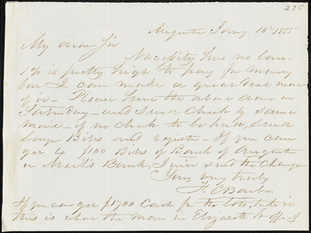 F. C. Barber, Augusta, Ga., autograph letter signed to Ziba B. Oakes, 10 January 1855