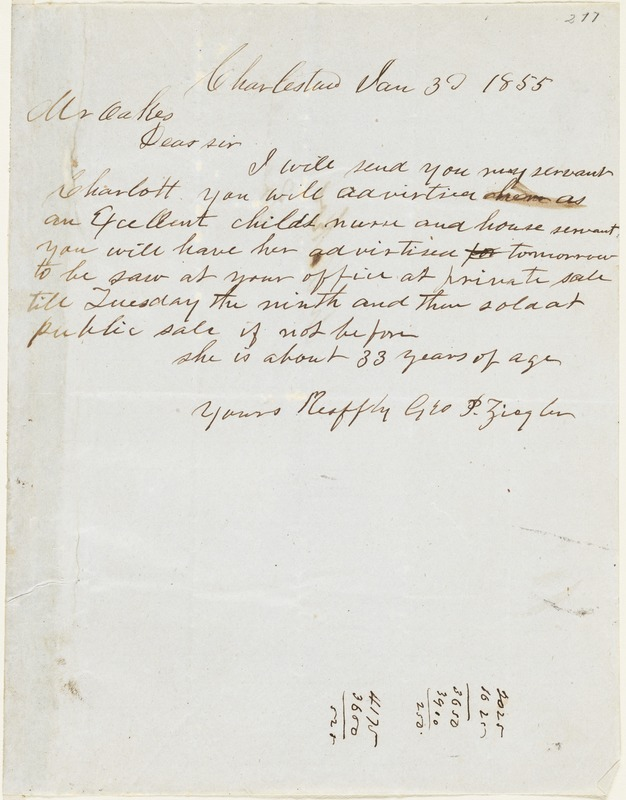 George P. Ziegler, Charleston, S.C., autograph letter signed to Ziba B. Oakes, 3 January 1855