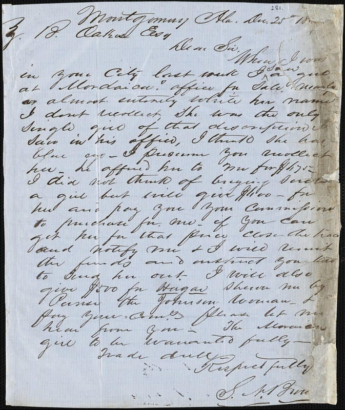 S. N. Brown, Montgomery, Ala., autograph letter signed to Ziba B. Oakes, 25 December [1854?]