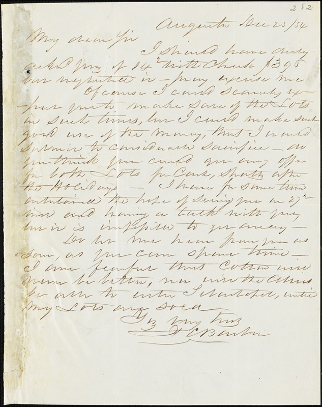 F. C. Barber, Augusta, Ga., autograph letter signed to Ziba B. Oakes, 23 December 1854