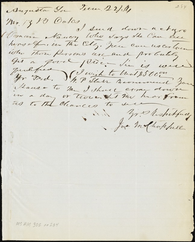 James M. Chappell, Augusta, Ga., autograph letter signed to Ziba B. Oakes, 22 December 1854