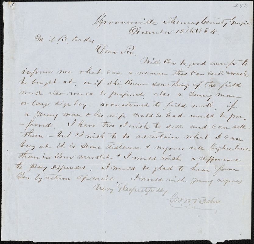 George W. Bohn, Grooverville, Thomas Co., Ga., autograph letter signed to Ziba B. Oakes, 12 December 1854