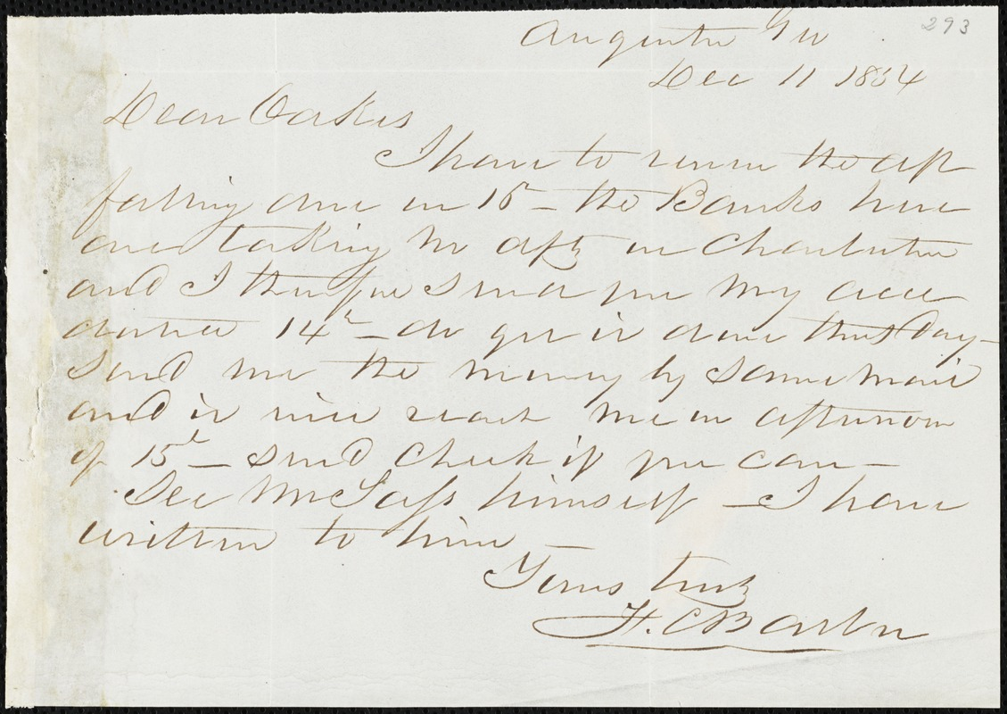 F. C. Barber, Augusta, Ga., autograph letter signed to Ziba B. Oakes, 11 December 1854