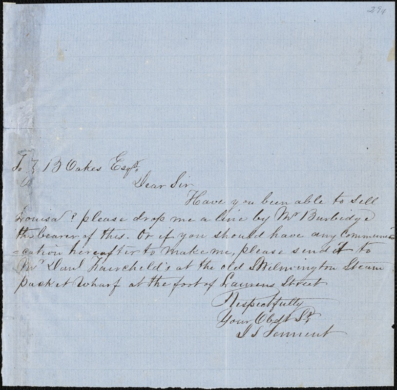 J.S. Tennent autograph note signed to Ziba B. Oakes