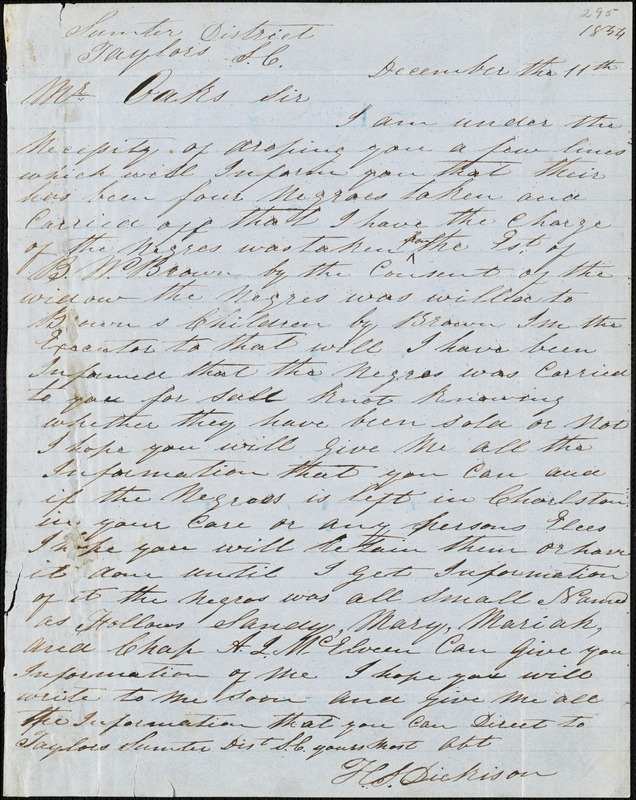 H.S. Dickison, Taylors, Sumter District, S.C., autograph letter signed to Ziba B. Oakes, 11 December 1854