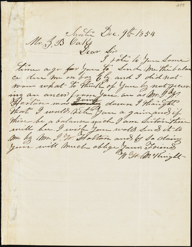 W. H. Knight, Santee, S.C., autograph letter signed to Ziba B. Oakes, 9 December 1854