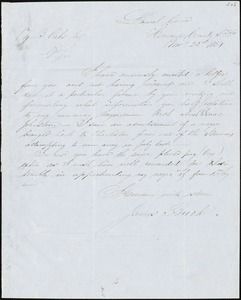 James Buck, Laurel Grove, [Va.?], autograph letter signed to Ziba B. Oakes, 23 November 1854