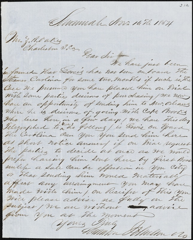 Scranton Johnston & Co., Savannah, Ga., autograph letter signed to Ziba B. Oakes, 16 November 1854