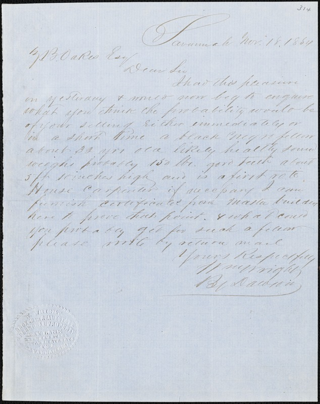 William Wright, Savannah, Ga., manuscript letter signed to Ziba B. Oakes, 18 November 1854