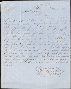 William Wright, Savannah, Ga., manuscript letter signed to Ziba B. Oakes, 4 November 1854