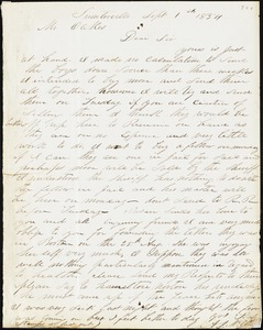 A. J. McElveen, Sumterville, S.C., autograph letter signed to Ziba B. Oakes, 1 September 1854