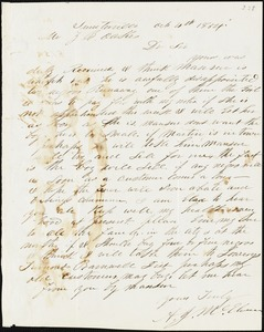 A. Stinebeck, Aiken, S.C., autograph letter signed to Ziba B. Oakes, 4 October 1854