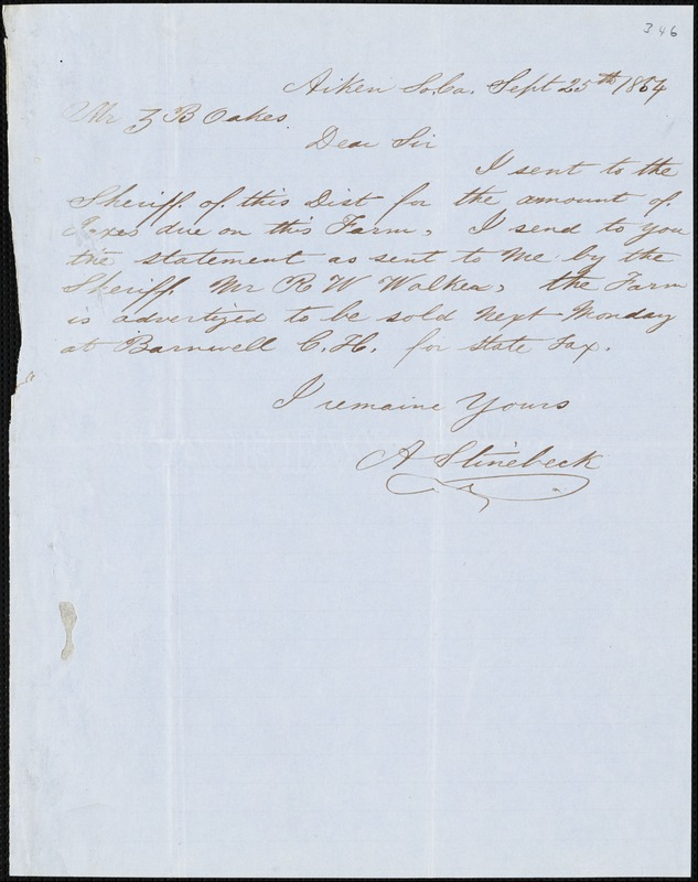 A. Stinebeck, Aiken, S.C., autograph letter signed to Ziba B. Oakes, 25 September 1854