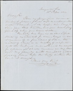 F. C. Barber, Augusta, Ga., autograph letter signed to [Ziba B. Oakes?], 18 September 1854