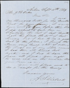 A. Stinebeck, Aiken, S.C., autograph letter signed to Ziba B. Oakes, 10 September 1854