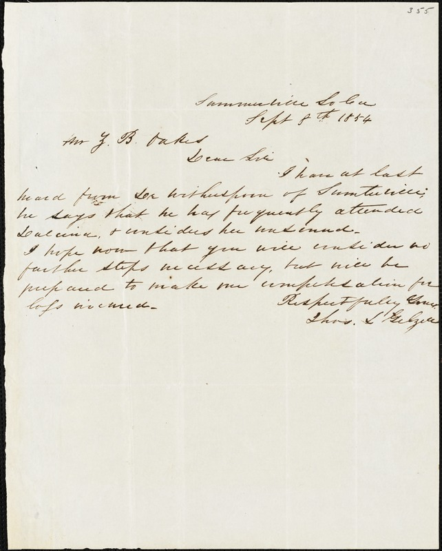Thomas L. Gelzer, Sumterville, S.C., autograph letter signed to Ziba B. Oakes, 8 September 1854