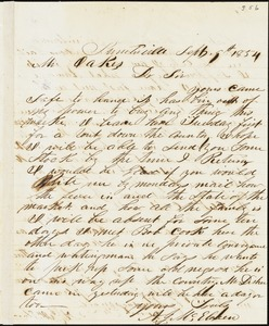 A. J. McElveen, Sumterville, S.C., autograph letter signed to Ziba B. Oakes, 9 September 1854