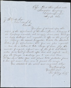 Duck River Slack Water Navigation Co. (Thomas J. Kelly), Columbia, Tenn., manuscript letter signed to Ziba B. Oakes, 30 August 1854