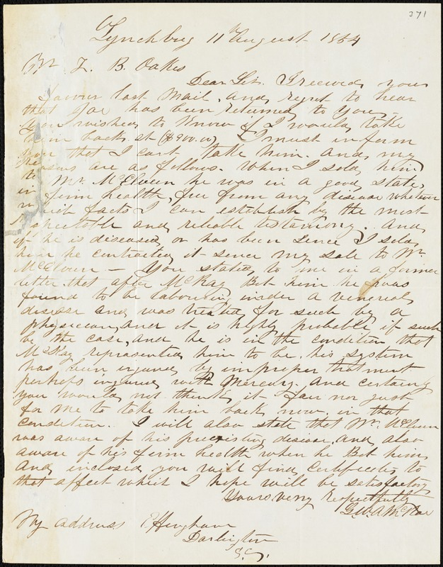 G.W.A. McRae, Lynchburg, Va., autograph letter signed to Ziba B. Oakes, 11 August 1854