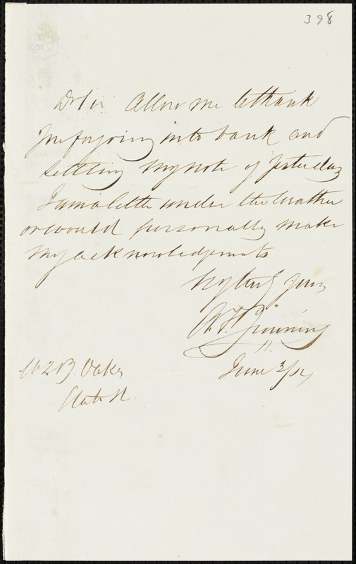A.F. Jenning autograph letter signed to Ziba B. Oakes, 3 June 1854