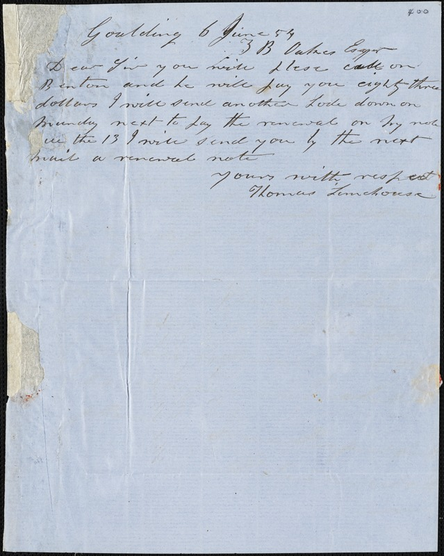 Thomas Limehouse, Goulding, S.C.[?], autograph letter signed to Ziba B. Oakes, 6 June 1854