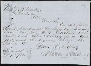 Scranton Johnston & Co. manuscript letter signed to Ziba B. Oakes, 23 May 1854