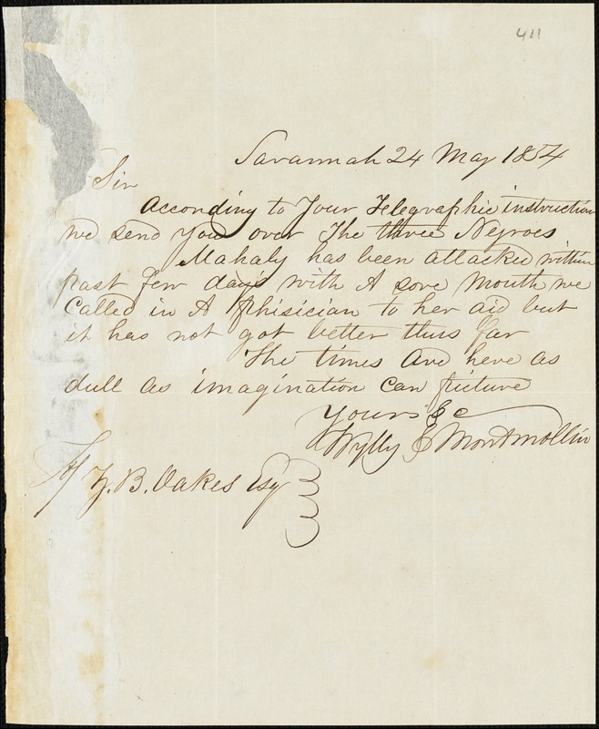 Wylly & Montmollin, Savannah, Ga., manuscript letter signed to Ziba B. Oakes, 24 May 1854