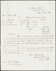 Northrop & Allemong, Charleston, S.C., manuscript letter signed to Ziba B. Oakes & William L. Cleveland, 25 April 1854