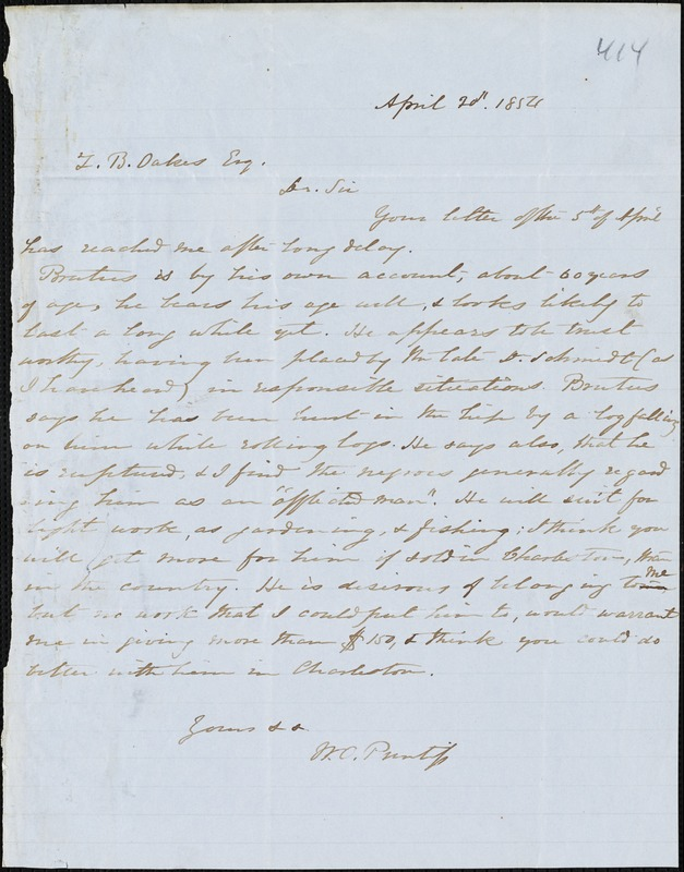 W.O. Prentiss, Buzzard Roost, Ala.[?], autograph letter signed to Ziba B. Oakes, 20 April 1854