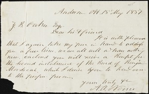 A.V. Norris, Anderson Court House, S.C., autograph note signed to Ziba B. Oakes, 18 May 1857