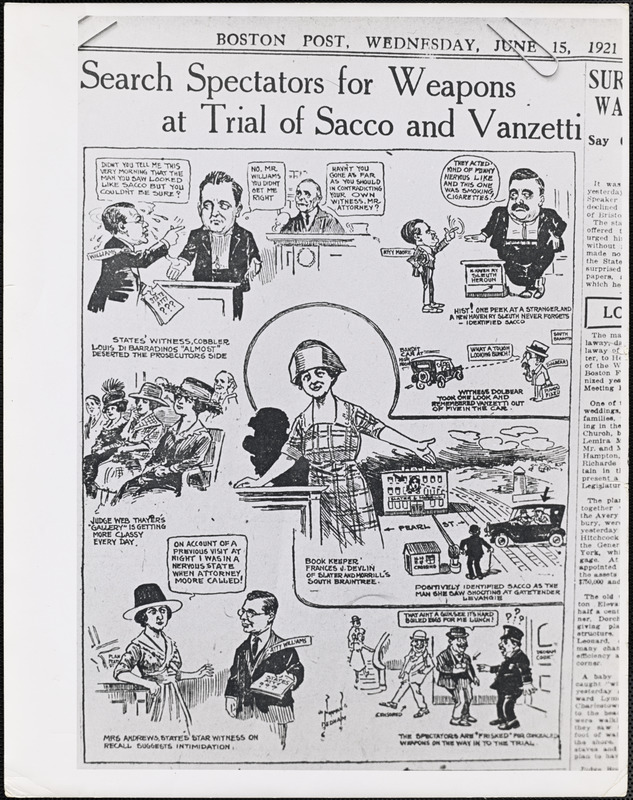 Search spectators from weapons at trial of Sacco and Vanzetti