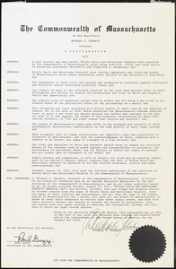 The Commonwealth of Massachusetts by his Excellence Michael S. Dukakis, Governor: A Proclamation, 1927