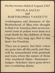 On the twenty-third of August, 1927, Nicola Sacco and Bartolomeo Vanzetti