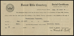 Forest Hills Cemetery burial certificate