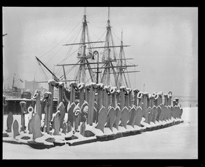 Line of anchors in front of USS Constitution