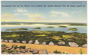 Frenchman's Bay and Bar Harbor, from Cadillac Mt., Acadia National Park, Mt. Desert Island, Me.