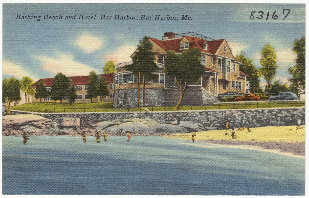 Bathing beach and Hotel Bar Harbor, Bar Harbor, Me.