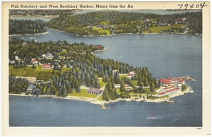 Fish Hatchery and West Boothbay Harbor, Maine from the Air