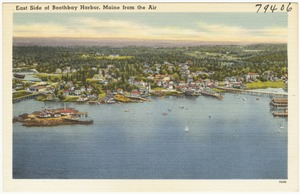 East side of Boothbay Harbor, Maine from the Air