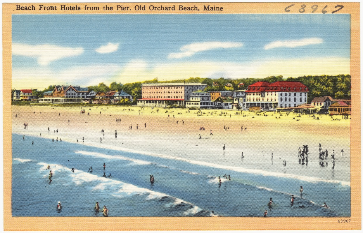 Beach front hotels from the pier, Old Orchard Beach, Maine