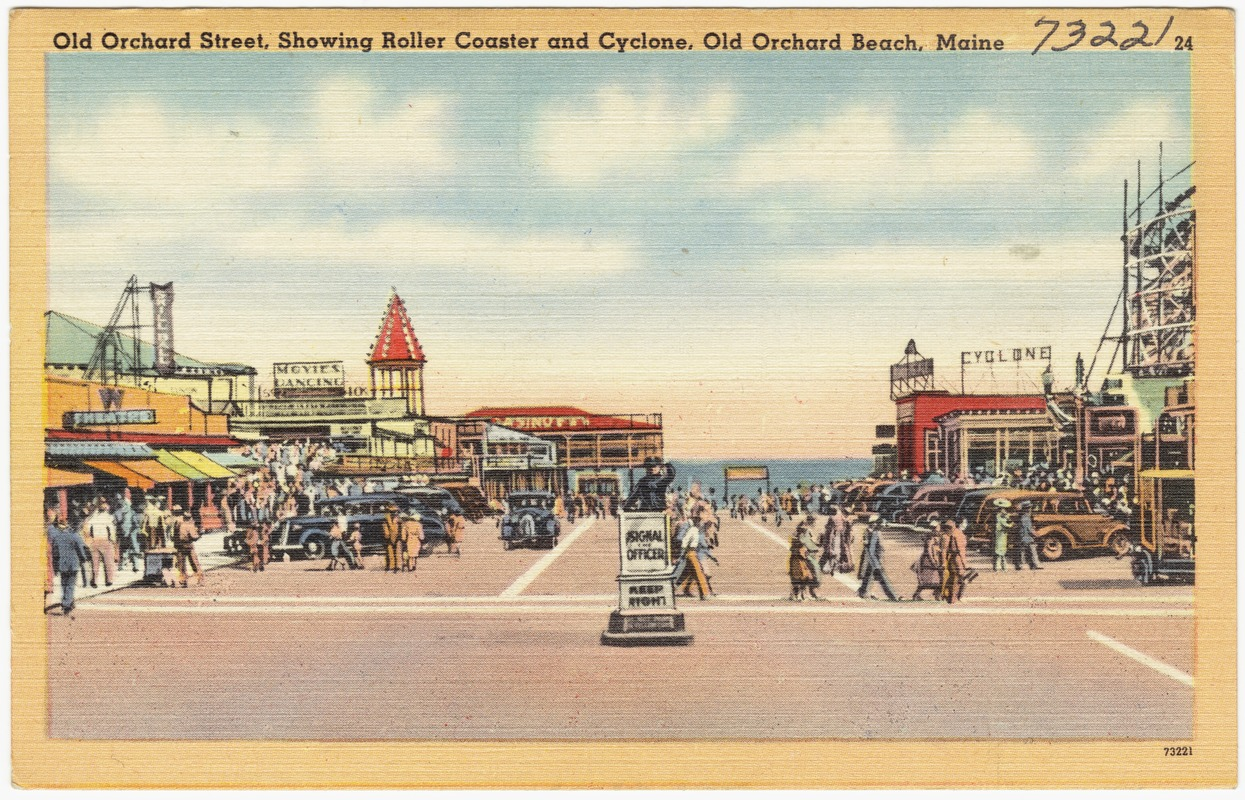 Old Orchard Street, showing Roller Coaster and Cyclone, Old Orchard Beach, Maine