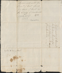 Agreement between Samuel Phillips on behalf of the Committee for the Sale of Eastern Lands and Jonathan Cummings, 21 April 1788